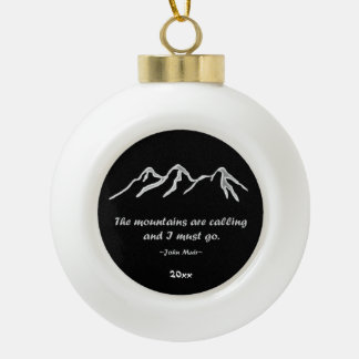 Mtns está llamando/ventisca Nevado en diseño negro Adorno De Cerámica En Forma De Bola
