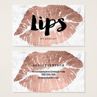 MUA makeup lips rose gold typography marble Business Card