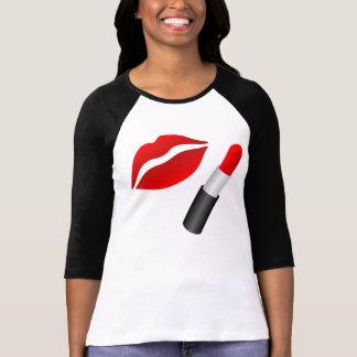 MUA Red Lips Ladies 3/4 Sleeve Raglan T-Shirt