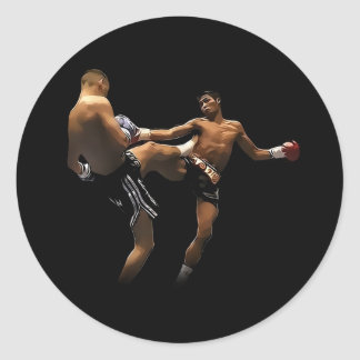 Muay Thai Boxing Action Classic Round Sticker
