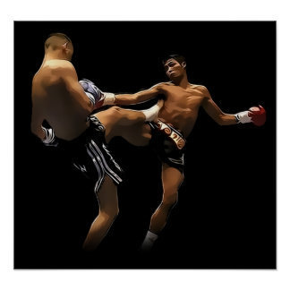 Muay Thai Boxing Action Poster
