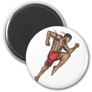 Muay Thai Boxing Fighter Tattoo Magnet