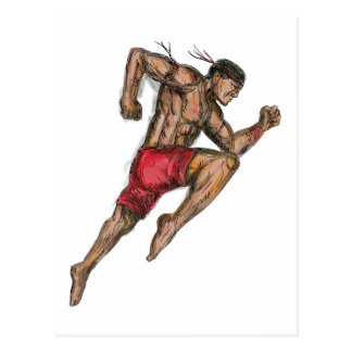 Muay Thai Boxing Fighter Tattoo Postcard