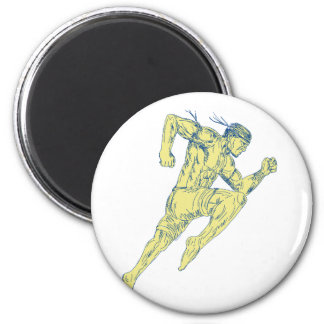 Muay Thai Fighter Kicking Side Drawing Magnet
