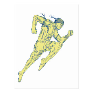 Muay Thai Fighter Kicking Side Drawing Postcard