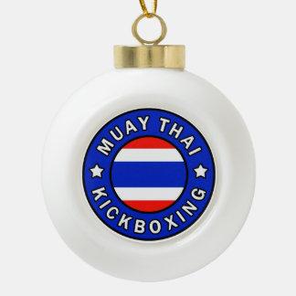 Muay Thai Kickboxing Ceramic Ball Christmas Ornament