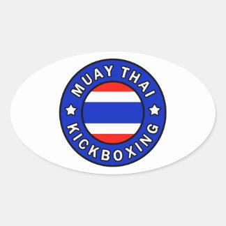 Muay Thai Kickboxing Oval Sticker