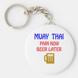 Muay Thai pain now beer later Basic Round Button Keychain