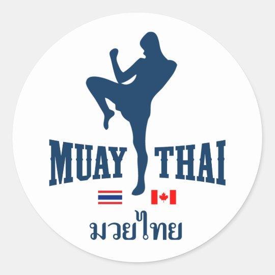 Muay Thai Thailand Canada Classic Round Sticker