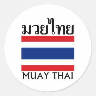 Muay Thai + Thailand Flag Classic Round Sticker