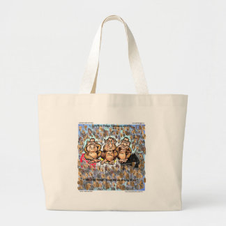Mubarek Sees No Evil Collectible Cartoon Gifts Etc Large Tote Bag