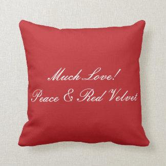 Much Love, Peace & Red Velvet Pillow in Red-White