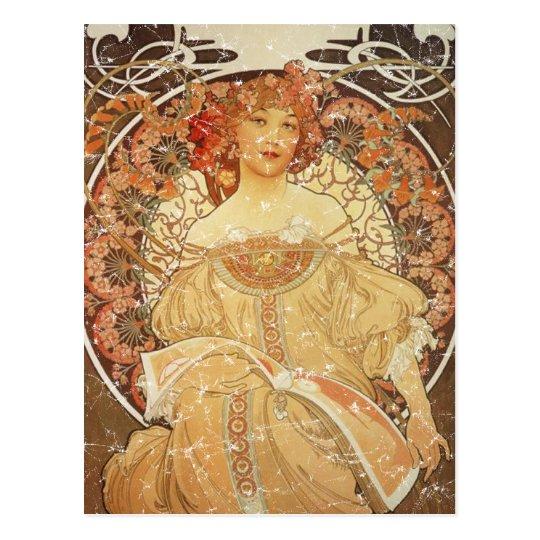 Mucha 2 - 1890 - distressed postcard