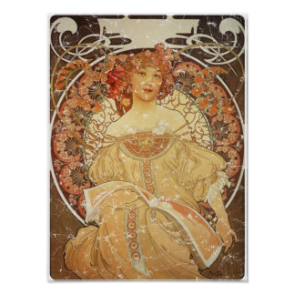 Mucha 2 - 1890 - distressed Poster