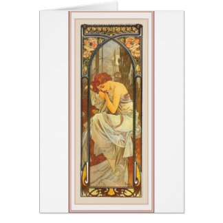 Mucha art deco poster lady female long dress card