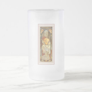Mucha art deco poster lady female long dress frosted glass beer mug