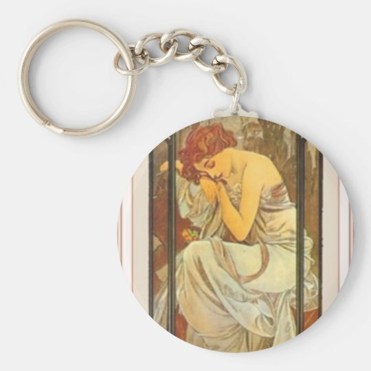 Mucha art deco poster lady female long dress keychain