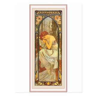 Mucha art deco poster lady female long dress postcard