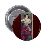 mucha art deco red flowers woman lady female button