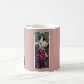 mucha art deco red flowers woman lady female coffee mug