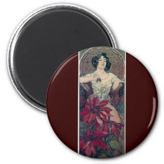 mucha art deco red flowers woman lady female magnet