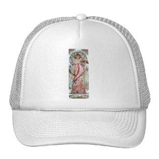 mucha art deco white star champagne woman trucker hat