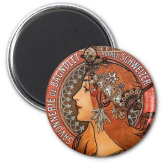 Mucha - Art Nouveau 2 Inch Round Magnet