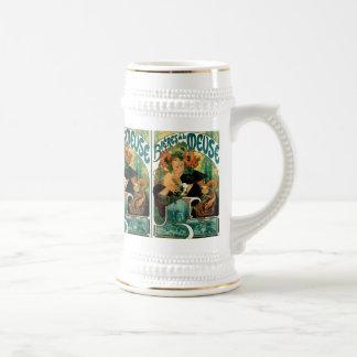 Mucha Art Nouveau:  Bieres de la Meuse Beer Stein