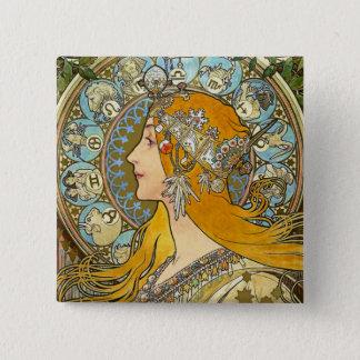 Mucha Art Nouveau Button -  Zodiac  - La Plume
