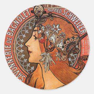 Mucha - Art Nouveau Classic Round Sticker