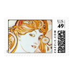 Mucha Art Nouveau Daisy Med Hrzntl Postage Stamp