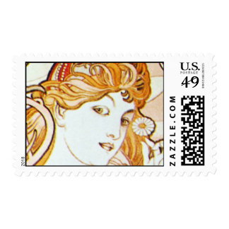 Mucha Art Nouveau Daisy Med Hrzntl Postage Stamp