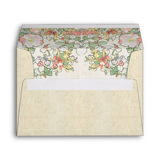 Mucha Art Nouveau Hollyhock Flowers Envelope