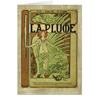 Mucha Art Nouveau La Plume 1898 Card