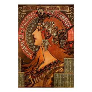 Mucha Art Nouveau Ladies Soap Poster