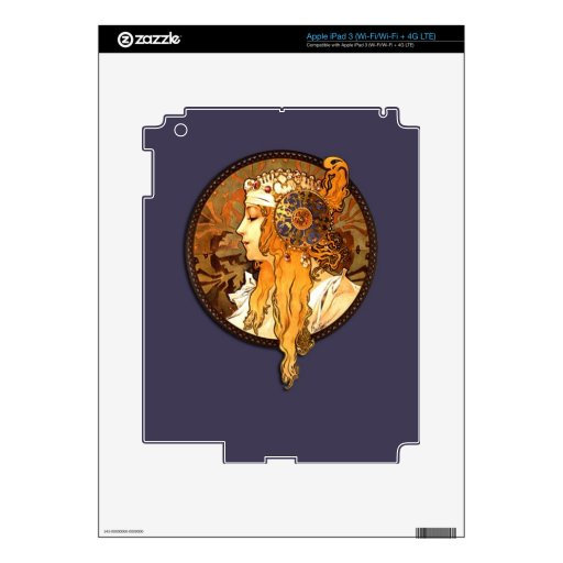 Mucha Art Nouveau Lady Tablet E-Reader Skin Skins For iPad 3