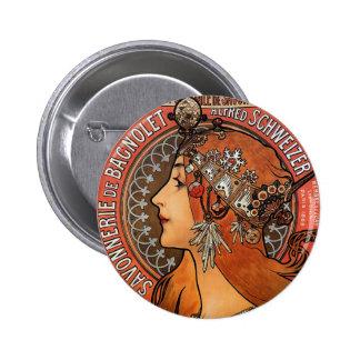 Mucha - Art Nouveau Pinback Button