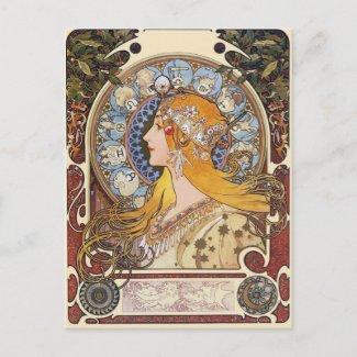 Mucha Art Nouveau Postcard - Zodiac - La Plume postcard