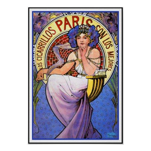 Mucha Art Nouveau Poster:  Los Cigarrillos Paris posters