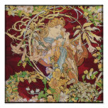 Mucha Art Nouveau Poster Print: Woman With Daisy