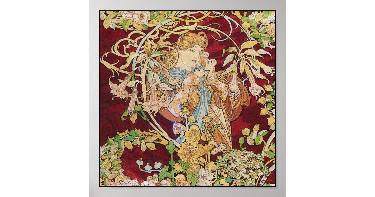 Mucha Art Nouveau Poster Print: Woman With Daisy | Zazzle
