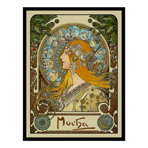 Mucha Art Nouveau Poster -  Zodiac  - La Plume posters