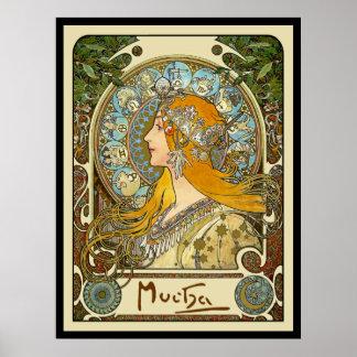 Mucha Art Nouveau Poster -  Zodiac  - La Plume
