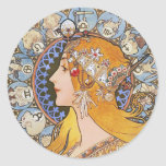Mucha Art Nouveau Poster -  Zodiac  - La Plume Round Sticker