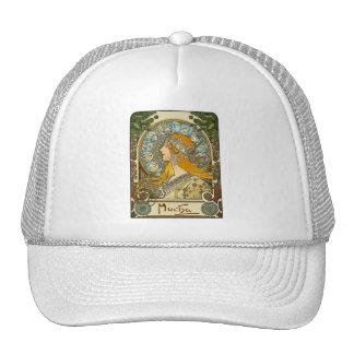 Mucha Art Nouveau Poster -  Zodiac  - La Plume Trucker Hat