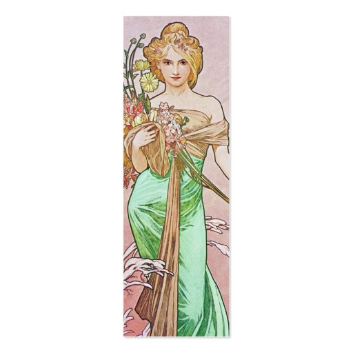 Mucha Art Nouveau Spring Bookmark Business Cards