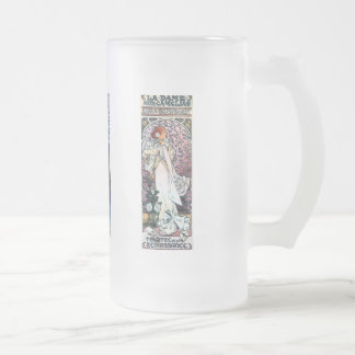 mucha art nouveau thatre woman long hair frosted glass beer mug