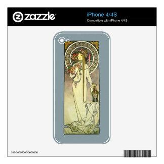 Mucha Art Nouveau Trappistine iPhone4 Decal Skin iPhone 4S Skin