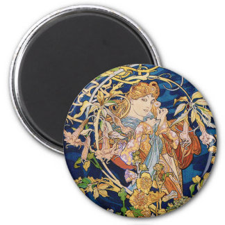 Mucha Art Nouveau: Woman With Daisy 2 Inch Round Magnet
