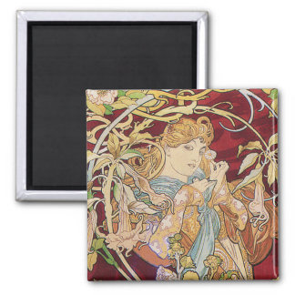 Mucha Art Nouveau: Woman With Daisy 2 Inch Square Magnet